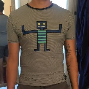 Fendi Roma Leather Robot Fitted Short Sleeve Shirt